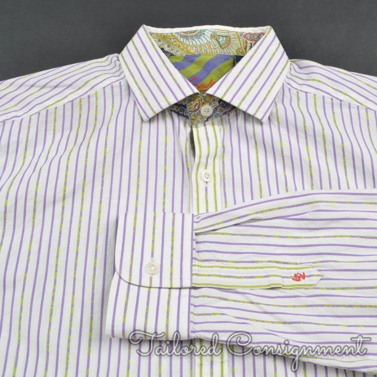 ROBERT GRAHAM White colorful Striped 100% Cotton Casual Dress Shirt - L ARGE