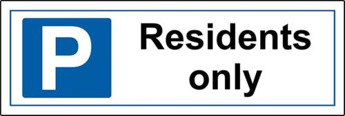 Residents only parking sign