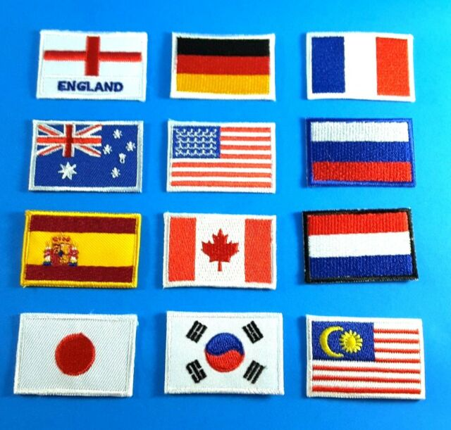 SMALL NATION FLAG IRON ON PATCH EMBROIDERED SEW LOGO FLAG SIZE 3X4 5 CM
