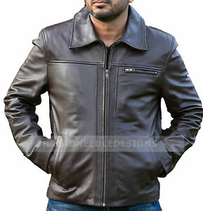 5a3dd5427 Details about Inception Cobb Vintage Genuine Cow Leather Brown Mens Leather  Jacket