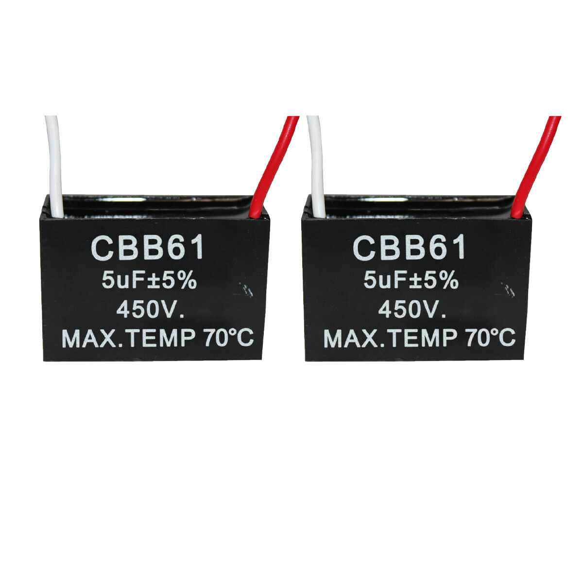PODOY CBB61 8uf Ceiling Fan Capacitor 2 Wire for New Tech 250VAC 50//60Hz