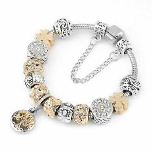 Authentic-Pandora-LUXURY-Bracelet-Silver-Heart-Love-Gold-Crystal-Charm