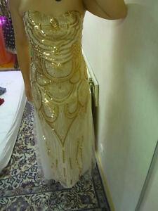 online store 563b3 eccf2 Details zu Pailletten Kleid lang gold nude NEU S/M Abendmode glitzer  Schnürung Korsett