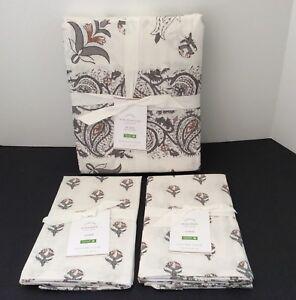 2 Standard Shams Pottery Barn Tinsley Organic Sateen Full Queen Duvet Cover