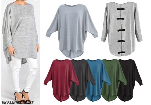 Women/'s Ladies Girls Plain Oversized Bow Back Batwing Baggy Top