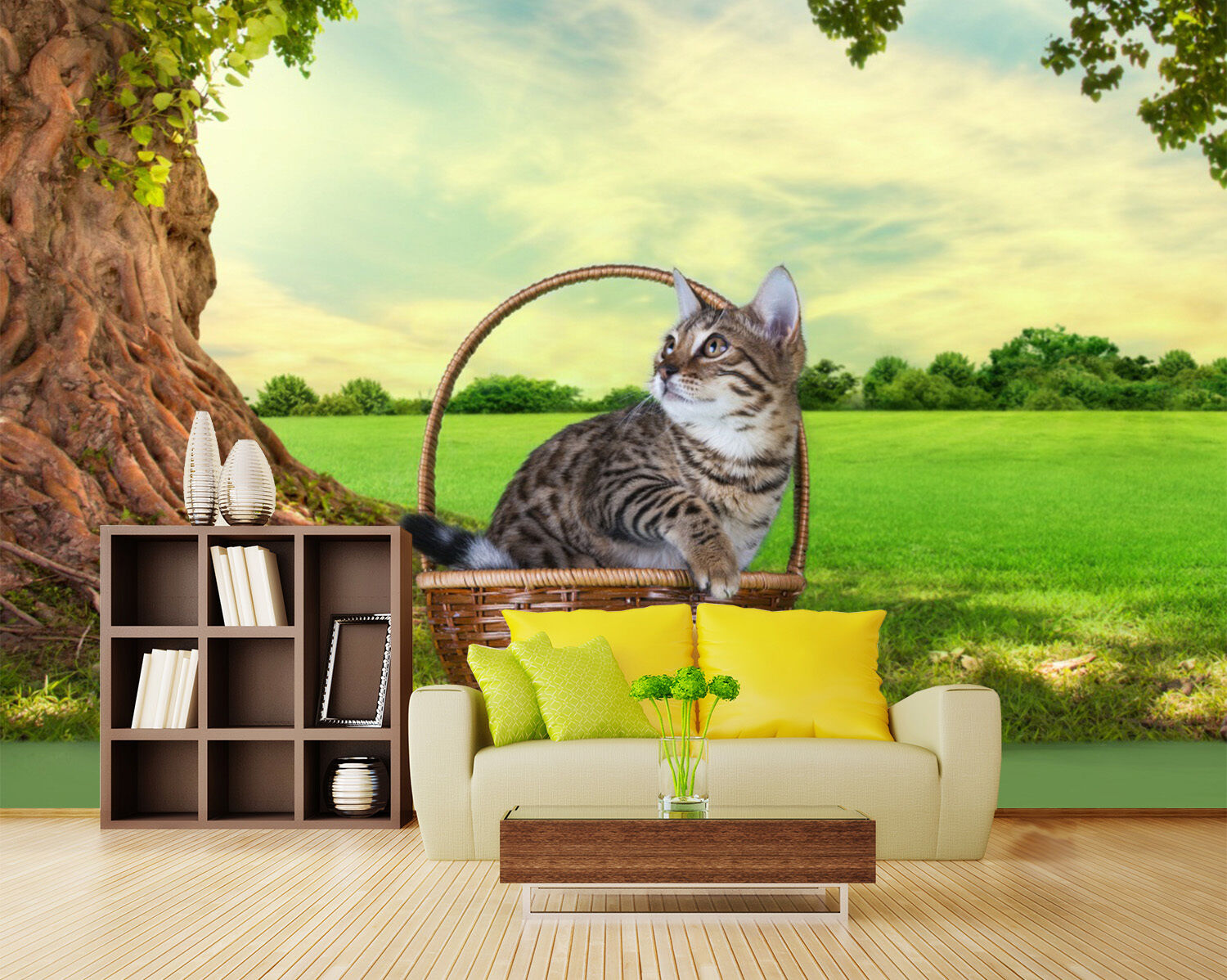 3D Tree Basket Cat 25 WallPaper Murals Wall Print Decal Wall Deco AJ WALLPAPER