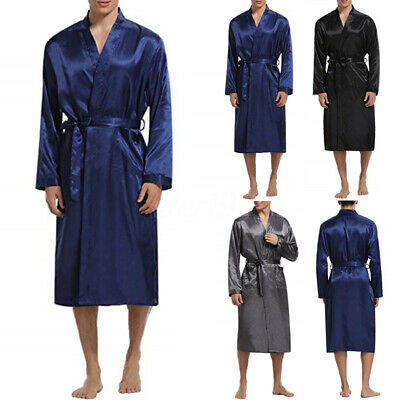 Mens Cotton Linen Pajamas Sleepwear Kimono Bathrobe Robe Dressing Summer Gown UK