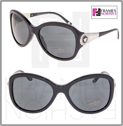 VERSACE Butterfly 4237 Black Silver Crystal Medusa Sunglasses VE4237BA Women