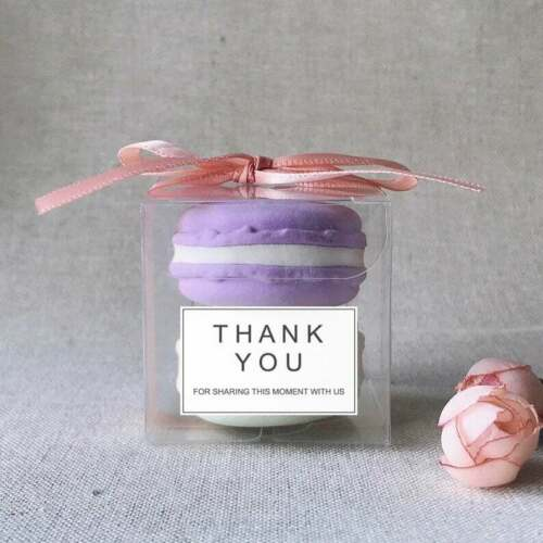 100x-Clear-Transparent-Macaroon-Party-Hotel-Wedding-Favor-Boxes-Rose-Gold-Ribbon