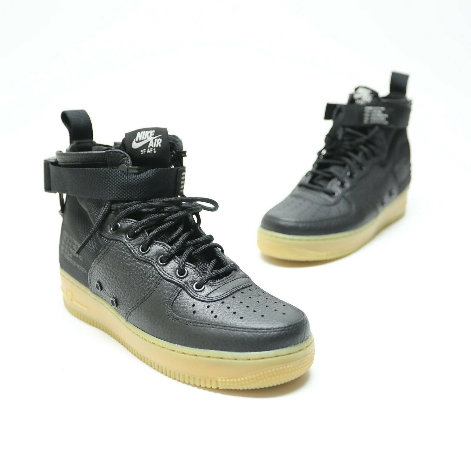 Nike Air Force 1 SF AF1 Mens Size 8 Black Leather Gum Sole shoes 917753-003 NWOB