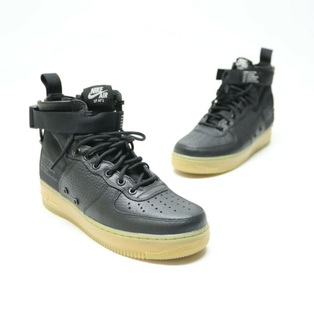 en soldes 942ea f36aa Nike Air Force 1 SF AF1 Mens Size 8 Black Leather Gum Sole Shoes 917753-003  NWOB