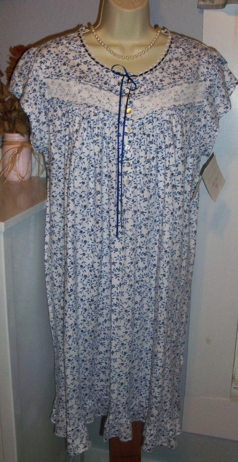2x Eileen West Nightgown 100 Cotton Knit Gown Blue Floral Soft Short ... 321a13d73