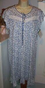 NWT M Medium Eileen West Nightgown 100% Cotton Knit NEW Gown Blue ... 2f32b2787