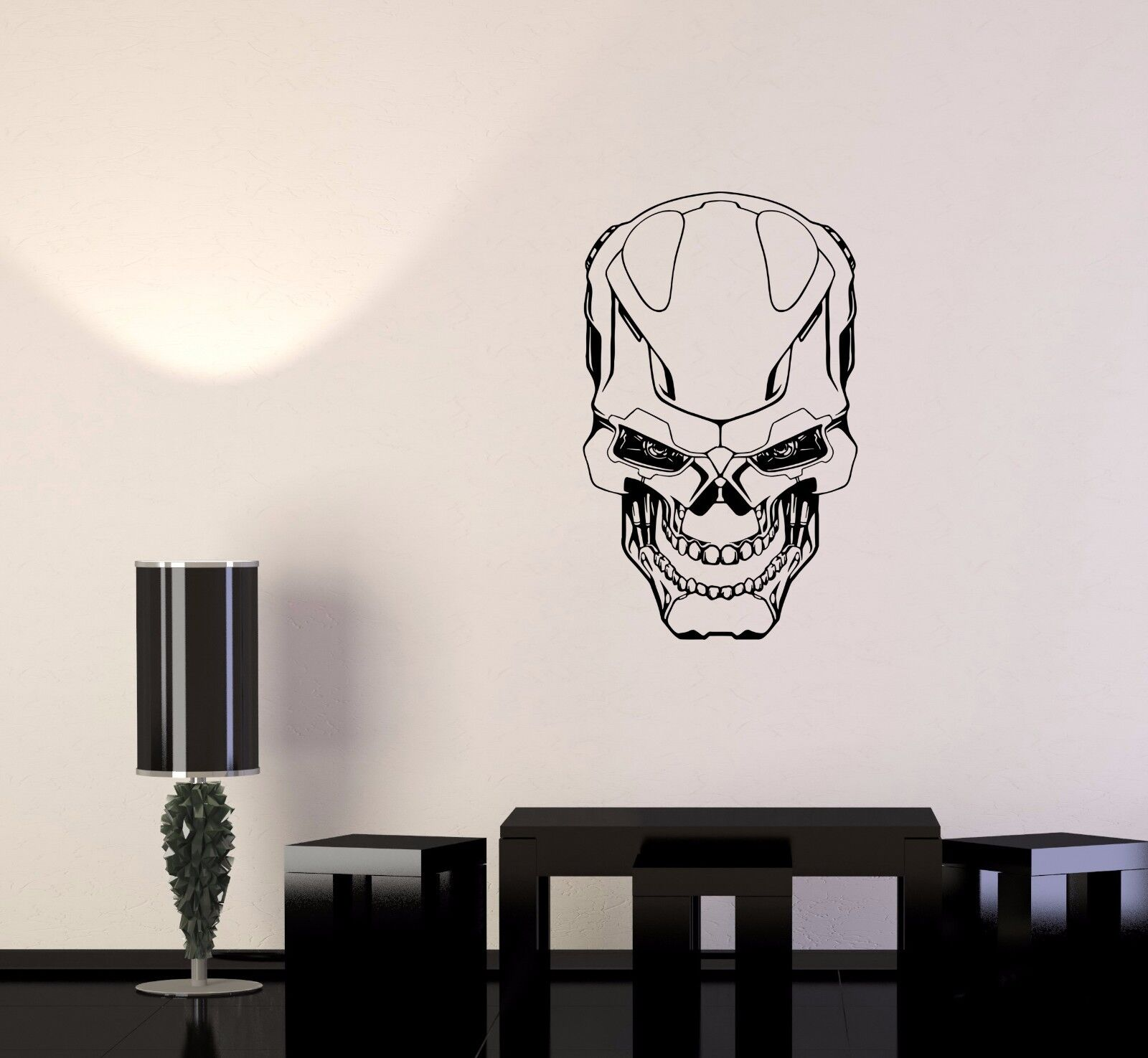 Wand Decal Robot Skull Iron Weapons Decor Military Danger Vinyl Decal (ed532)