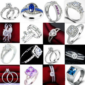 Womens-RHINESTONE-CZ-Wedding-Engagement-PARTY-Band-Rings-Size-6-10-Jewelry-HS