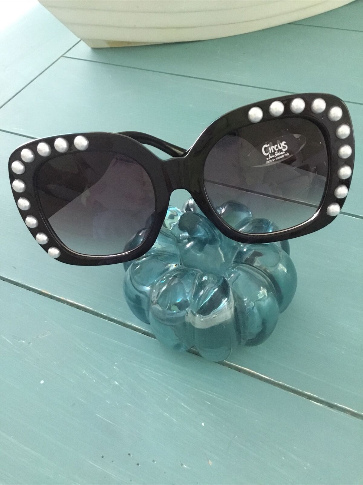 Circus by Sam Edelman Women's Sunglasses Black Oversized w Pearls