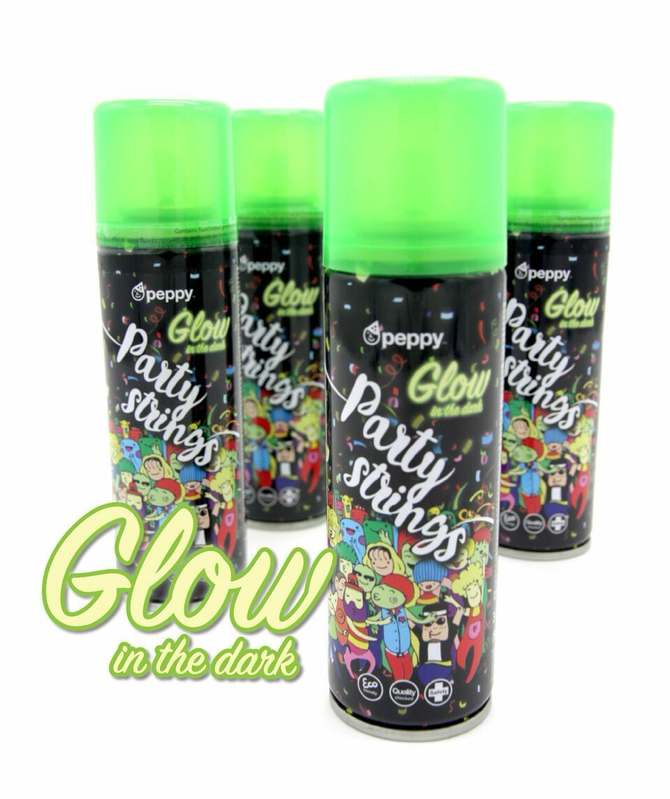 Peppy Glow in the Dark Party Aérosols Silly Cordes Bombes Aérosols Party Wholesale 24/96 Cans 734059