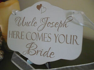 Image Is Loading Personalised Here Comes The Bride Sign Shabby Wooden