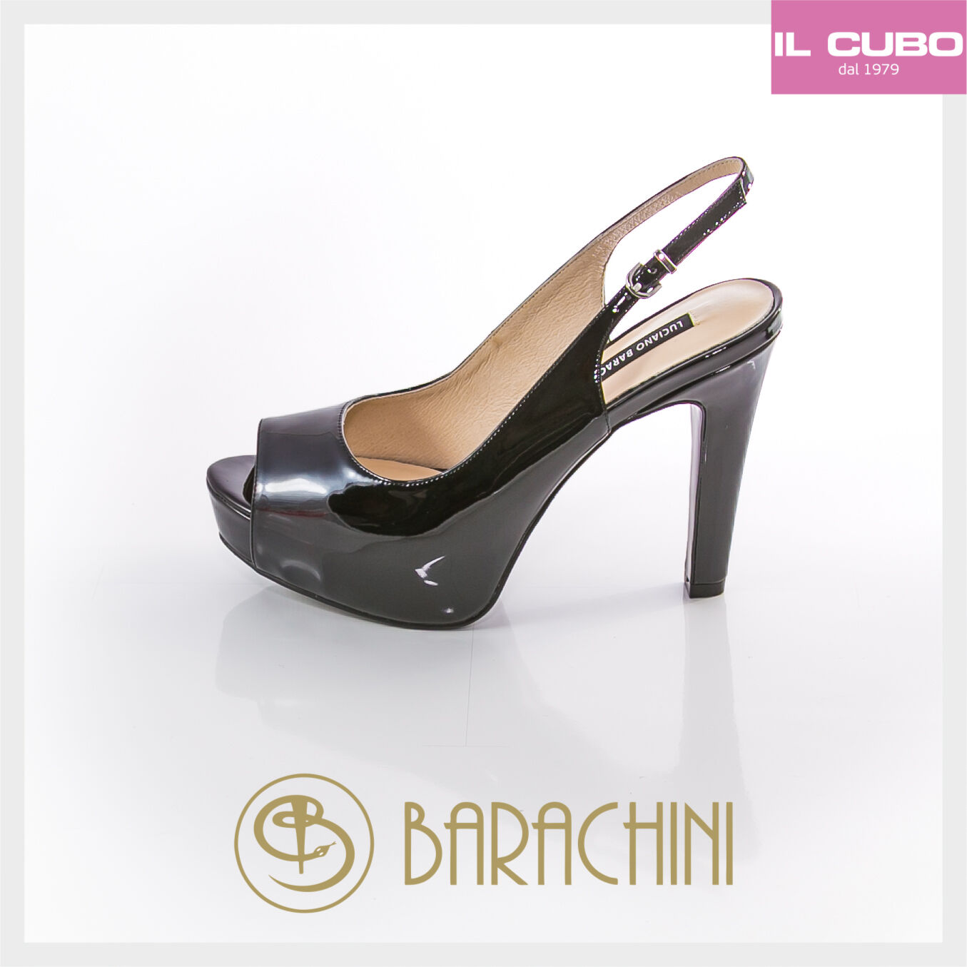 LUCIANO BARACHINI SANDALO VERNICE COLORE NERO TACCO H 12 CM NEU COLLECTION