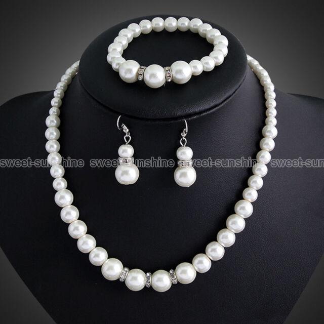 Wedding Crystal Pearl Beads Necklace Bracelet Earrings Set Prom Women Jewelry