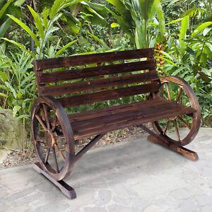 Wagon Wheel Bench Garden Chair Loveseat Wooden Accent
