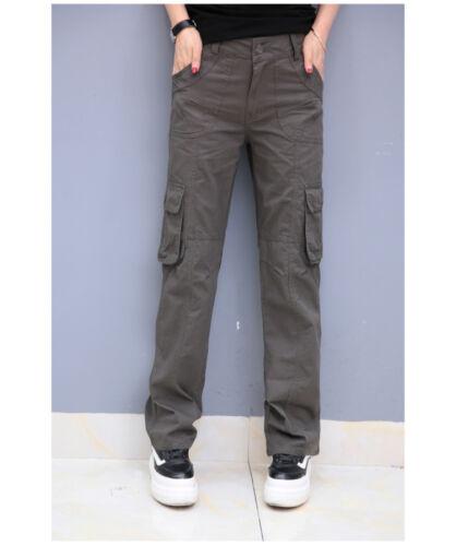 Lady Sport Straight Leg Cargo Pants Trouser Loose Multi Pocket Breathable Cotton