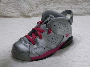 competitive price 39eee f95db Details about Nike Air Jordan Retro 6 VI GG Valentines's Day Girls Sz 9C  Silver Pink FREE S&H