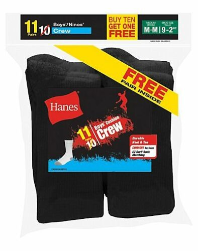 Includes 2 Free Bonus Pairs 22 Hanes EZ-Sort® Boys/' Crew Socks 421//11