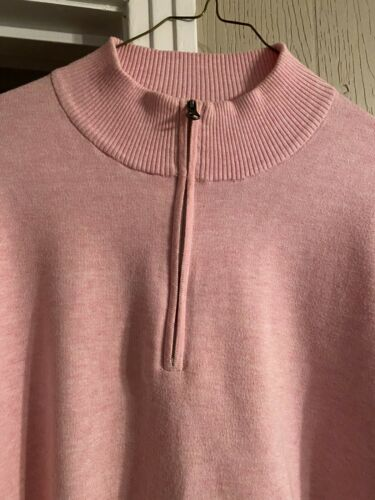 Peter Millar Quarter Zip Long Sleeve Pink