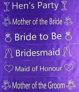 HENS NIGHT BRIDAL SASH SASHES BRIDE BRIDESMAID MAID OF HONOUR *PURPLE & SILVER *