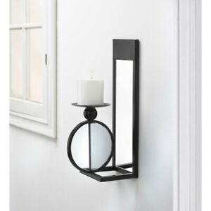 Details About Black Mirrored Sconce Pillar Candle Holder Wall Decor