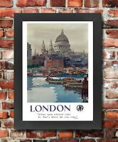 TU61 Vintage London St Paul's GWR Railways Framed Travel Poster Print A3/A4