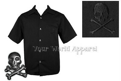 STEADY MENS BLACK SKULL BUTTON UP LOUNGE SHIRT ROCKABILLY RETRO VINTAGE PUNK!!