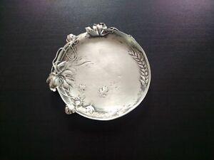 Rare silver metal bowl art nouveau plant decor beautiful patina corer pockets