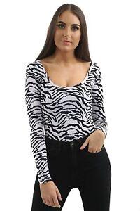 Womens-Long-Sleeve-Basic-Zebra-Ladies-Stretch-Leotard-Bodysuit-Scoop-Neck-Top