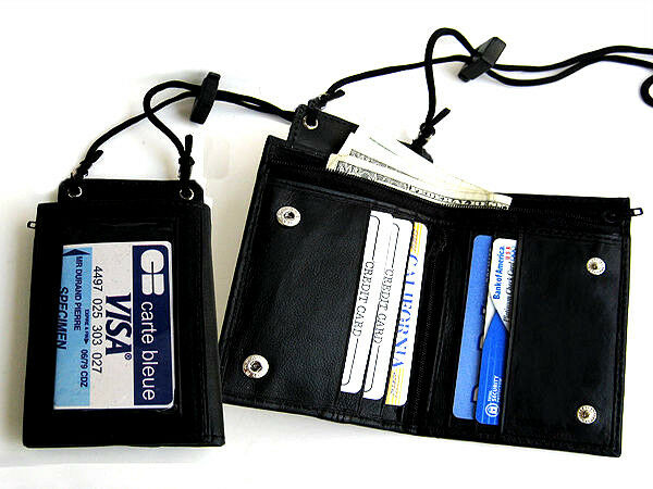BLACK GENUINE LEATHER NECK WALLET ID Card Badge Holder Zip Strap Lanyard