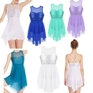 Girls-Kids-Sequins-Ballet-Dance-Dress-Lyrical-Leotard-Skating-Dancewear-Costume