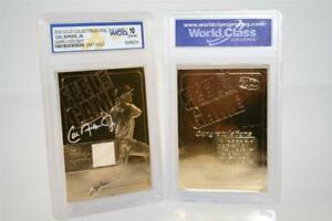 CAL-RIPKEN-JR-23K-GOLD-GENUINE-Official-GAME-USED-BAT-CARD-GRADED-GEM-MINT-10