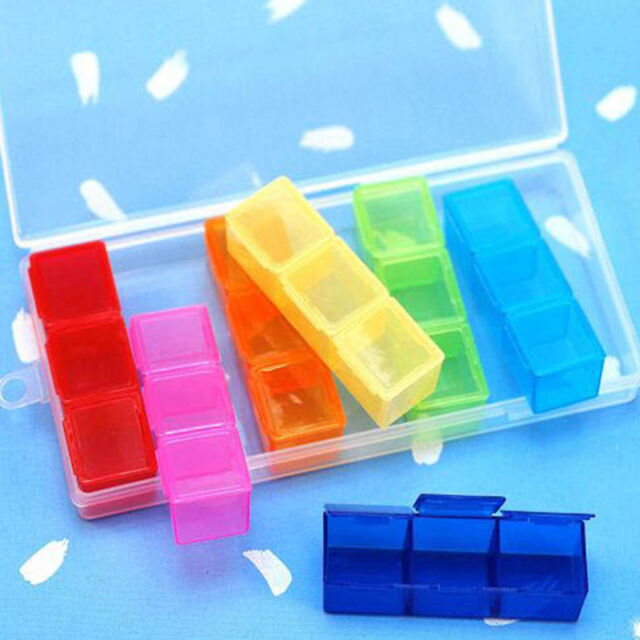 Box Case Organizer Container Holder 21 Slot 7 Day Colorful Pill Tablet Drug Top
