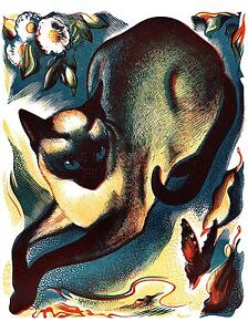 ART-PRINT-POSTER-PAINTING-ANIMAL-CAT-BUTTERFLY-SIAMESE-NOFL0924