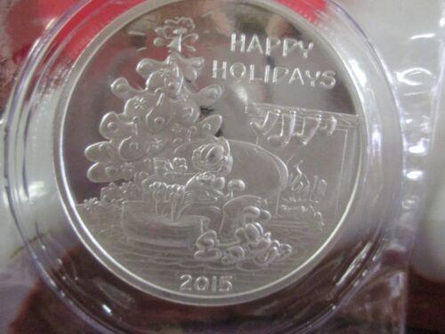 2015 .999 fine silver oz  Merry Christmas Garfield  tree  holiday bullion
