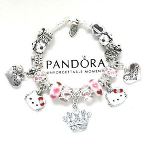 e3d83eee90eee Details about Pandora Bracelet Hello Kitty Kids 6.7 European Charms Pink  Birthday New