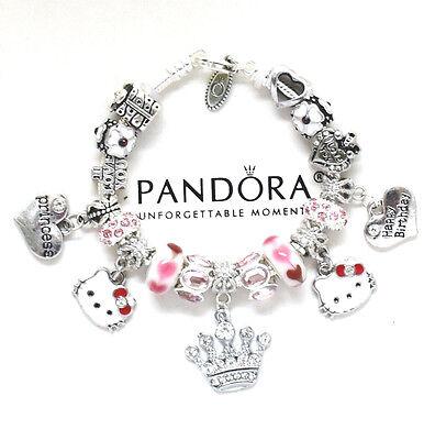 Pandora Bracelet Hello Kitty Kids 6 7 European Charms Pink Birthday New Ebay