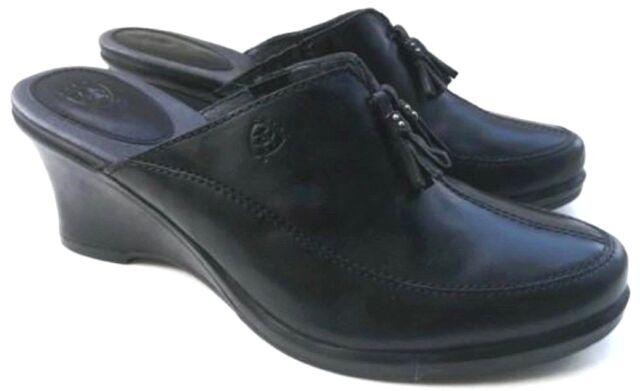 Ariat Womens Sz US 7B Mules Clogs Black Leather Tassel Wedge Heels EU 37.5 20925