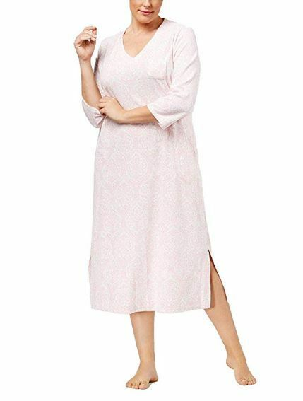 Miss Elaine Nightgown Gown White 158 Pink Damask 1X XL XLarge 536517X