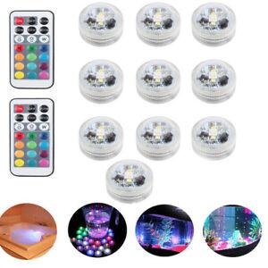 10X-Multicolor-RGB-Party-LED-Unterwasserlicht-Fernbedienung-Wasserdichtes-Dekor