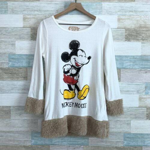 Disney Japan Mickey Mouse Faux Fur Trim Tunic Top