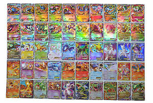 Pokemon TCG : 50 CARD LOT RARE, COM/UNC, HOLO & GUARANTEED EX, MEGA OR FULL ART
