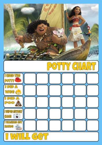MOANA POTTY//TOILET TRAINING REWARD CHART free stars /& pen