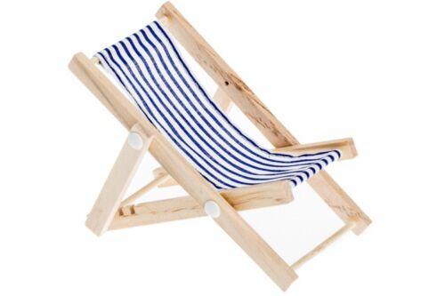 ca NaDeco® Mini Deko Liegestuhl blau-weißer Stoffsitz 15x6,5cmStrandstuhl